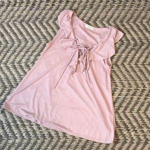 Mauve lace front shirt